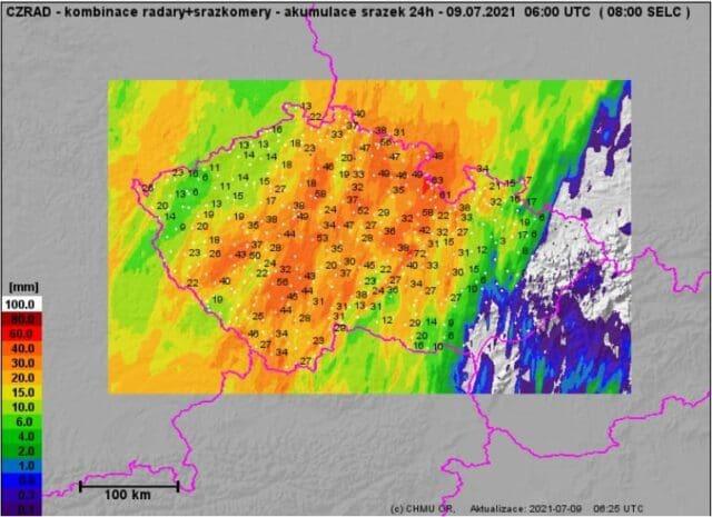Přívalové srážky na jihozápadě a východě Čech. Úhrny srážek za 24h do 9.7.2021 8h.