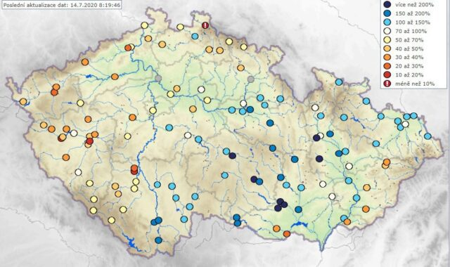 Hydrologická situace je velmi dobrá. Vodnosti toků dne 14.7.2020.