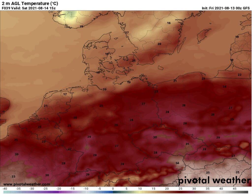Horké počasí do pondělí. Maxima teploty na sobotu 14.8.2021.