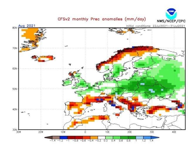 Vlhčí a chladnější srpen 2021. Srážkové odchylky na srpen 2021 podle modelu CFS.