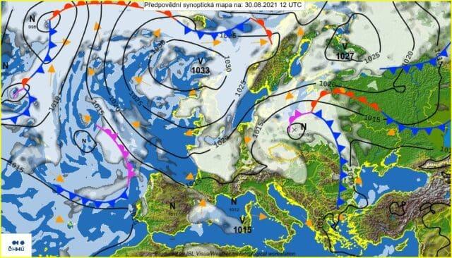 O deštivo se postará cyklona. Synoptická situace na 30.8.2021.
