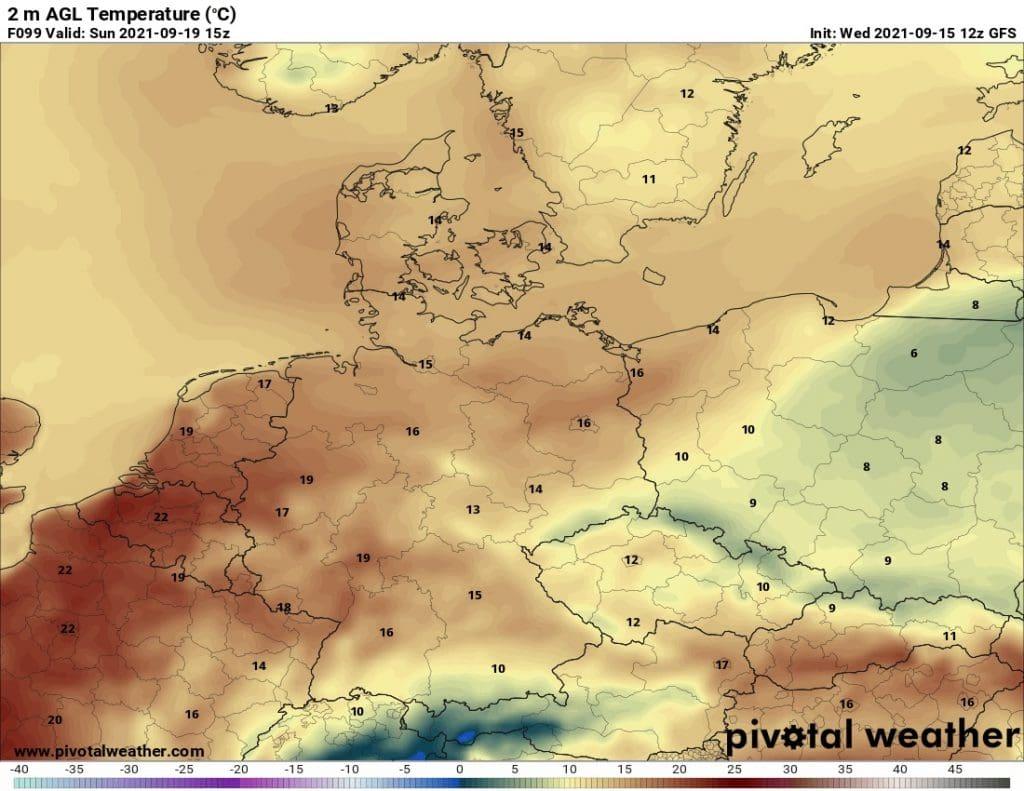 Pozdní léto končí. Maxima teplota na 19.9.2021.