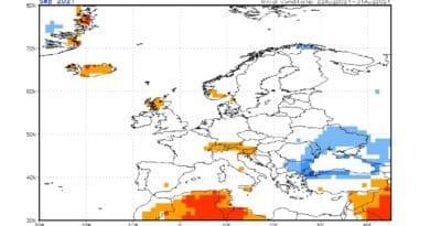 Počasí v září 2021 bude Průměrné. Odchylky teploty od normálu na září 2021 podle modelu CFS.